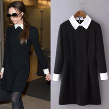 Spring Women's OL Victoria Same Style dresses POLO collar Long Sleeve Skinny Dress Black QY13030125
