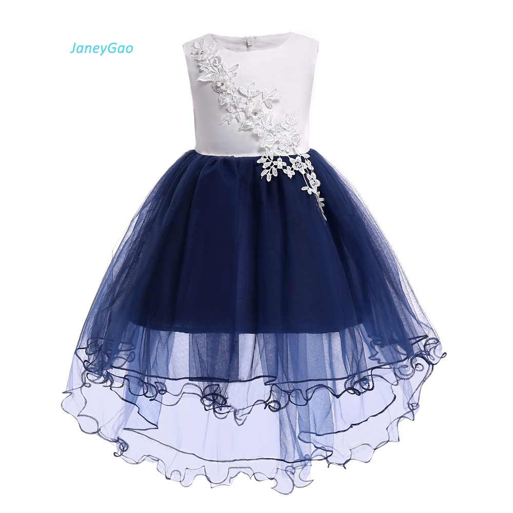 JaneyGao   Flower     Girl     Dresses   For Wedding Party Front Short Long Back With Appliques Little   Girl   Formal Gown Cute White And Blue