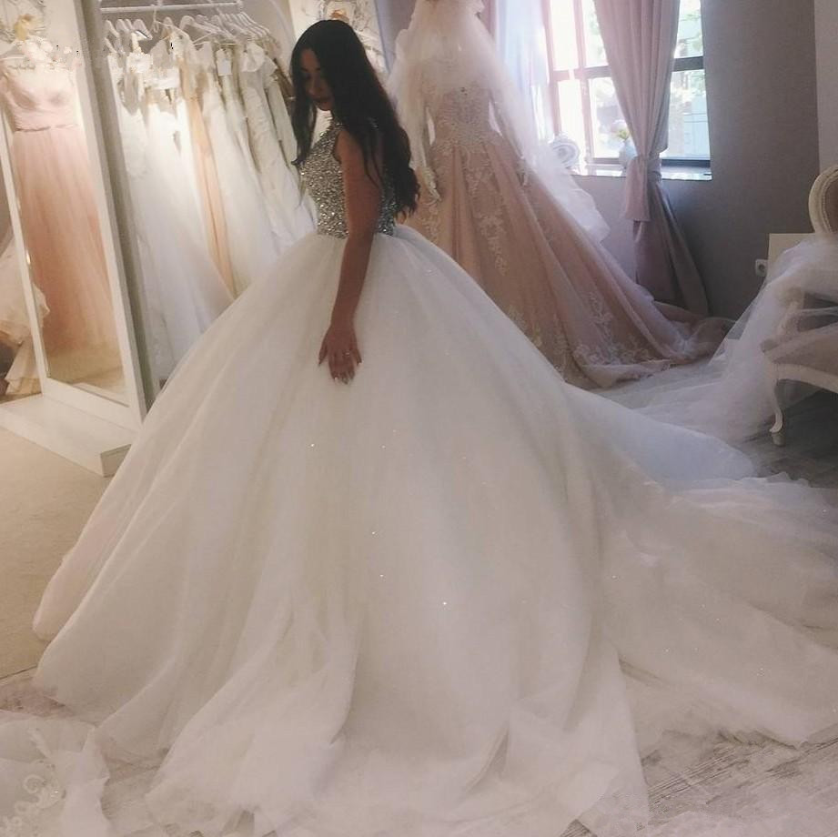 Wedding Dresses Vinca sunny Sexy Crystal Beaded Ball Gown 2019 Luxury Puffy Tulle Bridal Gowns wedding vestido