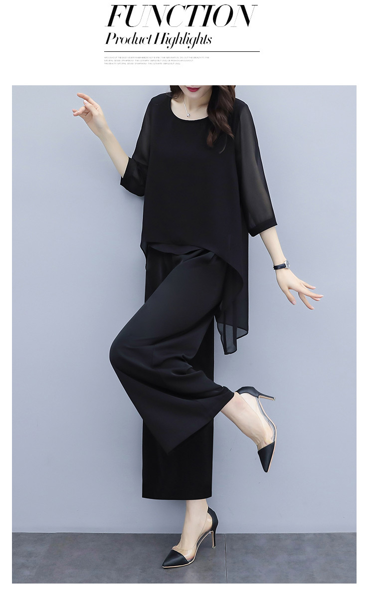 HTB1Cuo7aWSs3KVjSZPiq6AsiVXaq - S-3xl Summer Chiffon 2 Two Piece Sets Outfits Women Plus Size Asymmetrical Blouses And Wide Leg Pants Suits Elegant Korean Sets