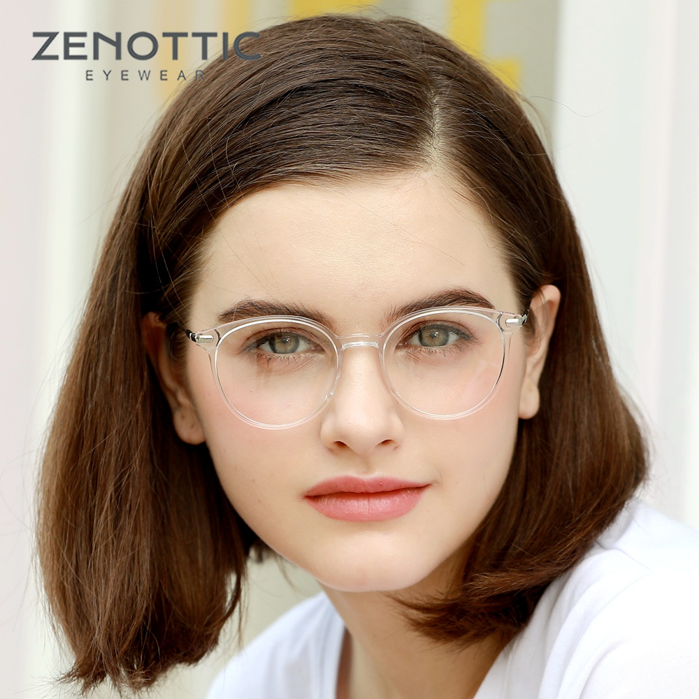 ZENOTTIC Vintage Round Prescription Glasses for Women Optical Myopia Anti-Blue-Ray Eyeglasses Retro Hyperopia Photochromic 2019