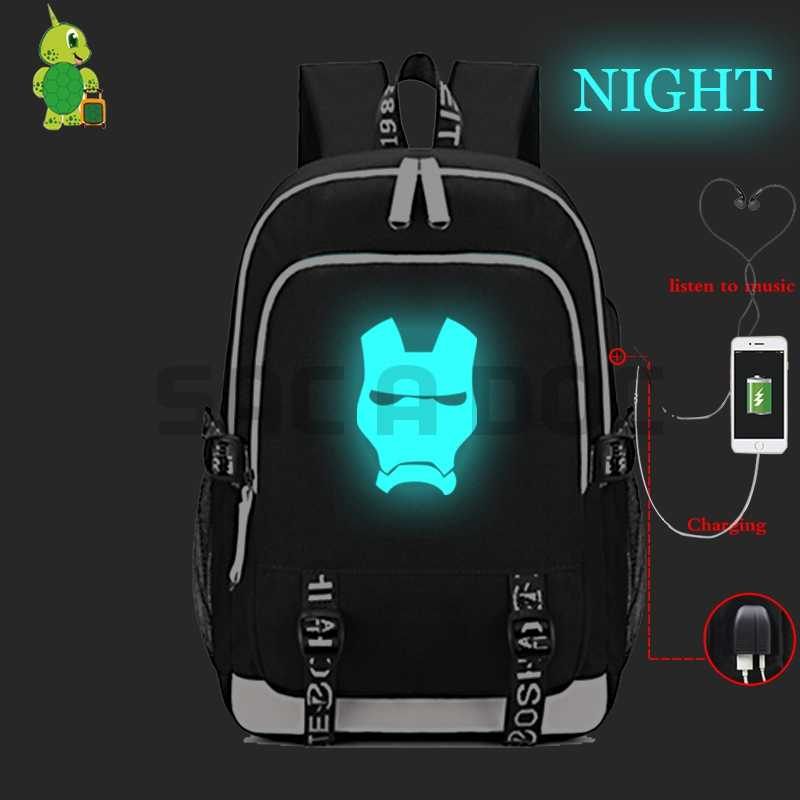 0964af592d92 Avengers Iron Man USB Charging Laptop Backpack for Teenage Girls Boys  Luminous School Bags Multifunction Travel