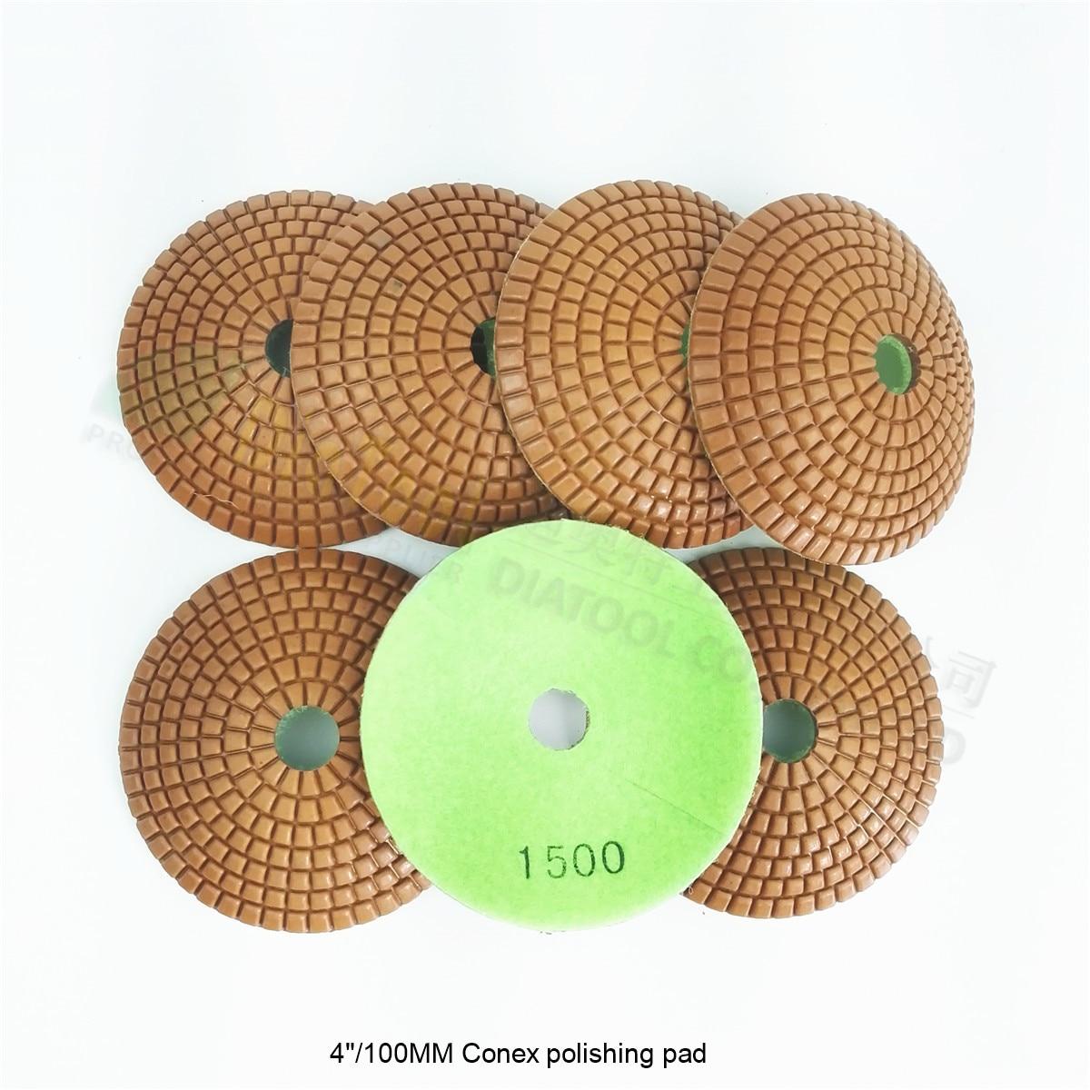 "SHDIATOOL 7pcs 4"" #1500 bowl shaped wet diamond polishing pads marble granite ceramic Diameter 100mm convex sanding disc"