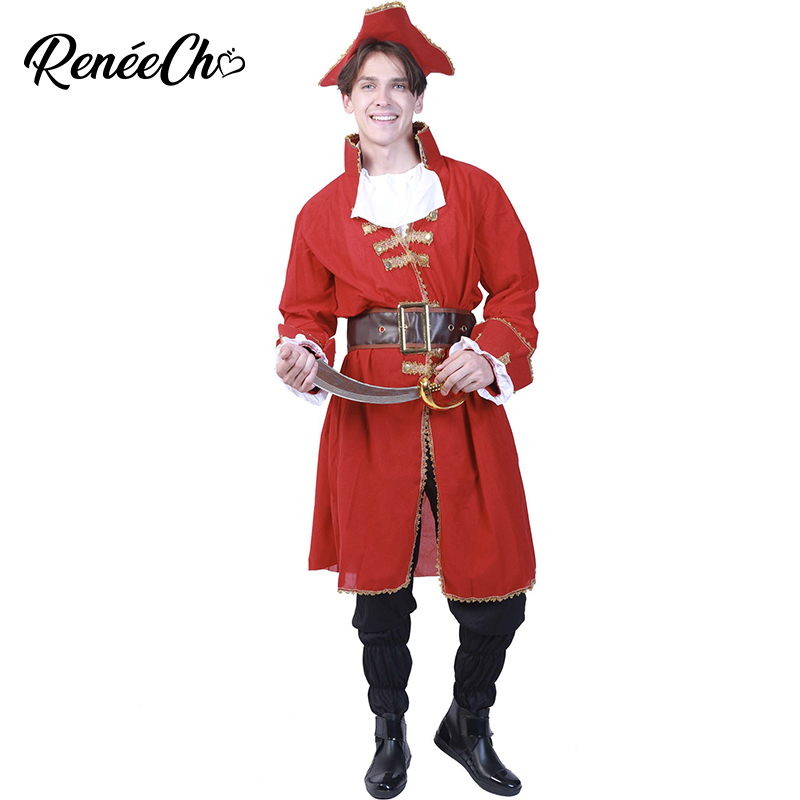 2018 Halloween Costumes For Adult Men Costume Captain Blackheart Pirate Costume Plus Size Men`s Aristocrat Cosplay For Party