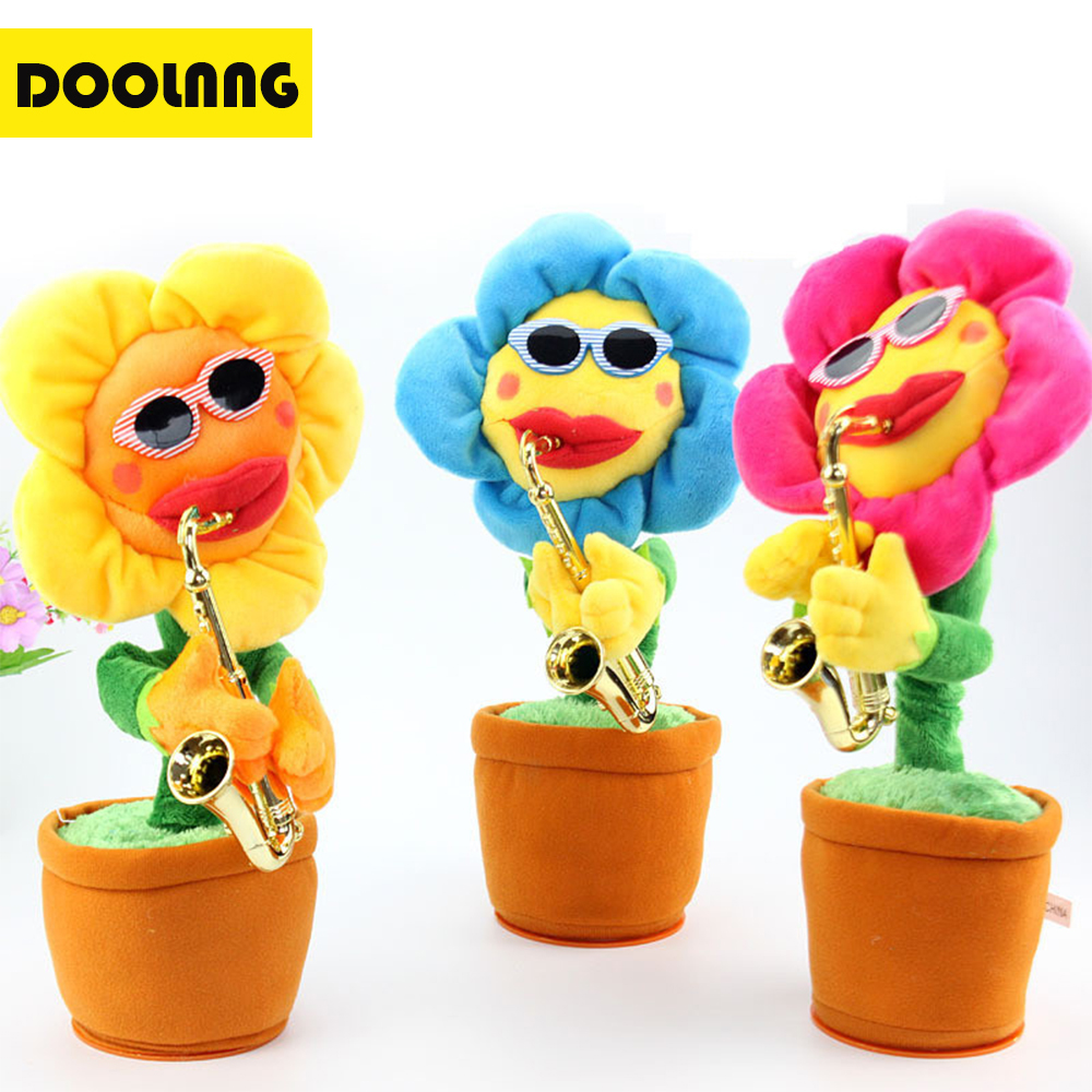 Stuffed & Plush Plants Dolls & Stuffed Toys Doolnng Saxophone Singing&dancing Sunflower Plush Toys Sachs Music Swing Electric Sun Flower Toy Potted Plants Decorative Gifts Delicacies Loved By All