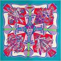 Nueva Llegada Del Otoño Invierno de la Marca de Lujo Mujeres Bufandas de Seda de la Tela Cruzada Grande 130 cm Square Geométrica Impresión Chal Pashmina Bufanda