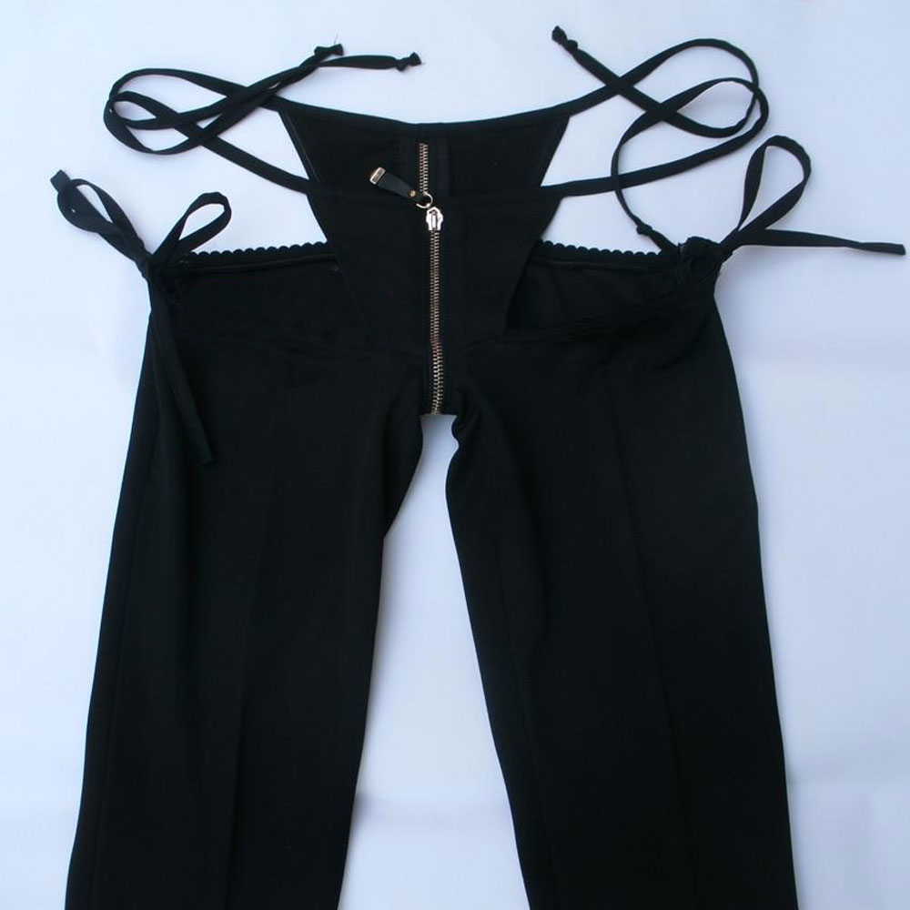 Low Waist G-string Fake Two-piece Capris Flare Pants Erotic Transparent Club Wear With Zipper Open Crotch FX1126