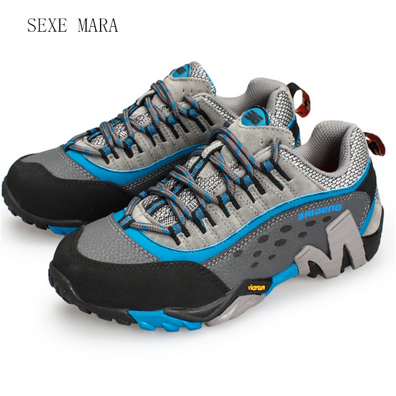 2017 Outdoor Sport shoes Women and Men Sneakers Climbing Hiking Genuine leather Trekking Shoes non-slip comfortable Trainers humtto new hiking shoes men outdoor mountain climbing trekking shoes fur strong grip rubber sole male sneakers plus size