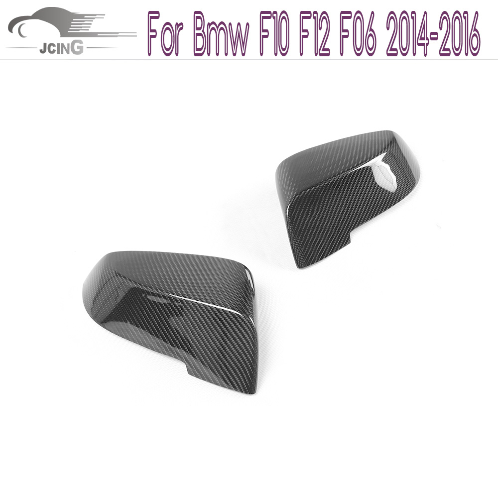 New Carbon Fiber side Mirror Covers Fit For Bmw F10 F12 F06 2014-2016 Add on style Rearview Mirror Caps Car Styling replacement car styling carbon fiber abs rear side door mirror cover for bmw 5 series f10 gt f07 lci 2014 523i 528i 535i