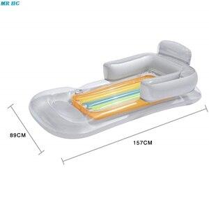 Image 3 - Yaz yüzme şişme yüzen yatak havuz şezlong su yüzen satır arkalığı Recliner kol dayama ile bardak tutucu yetişkin için