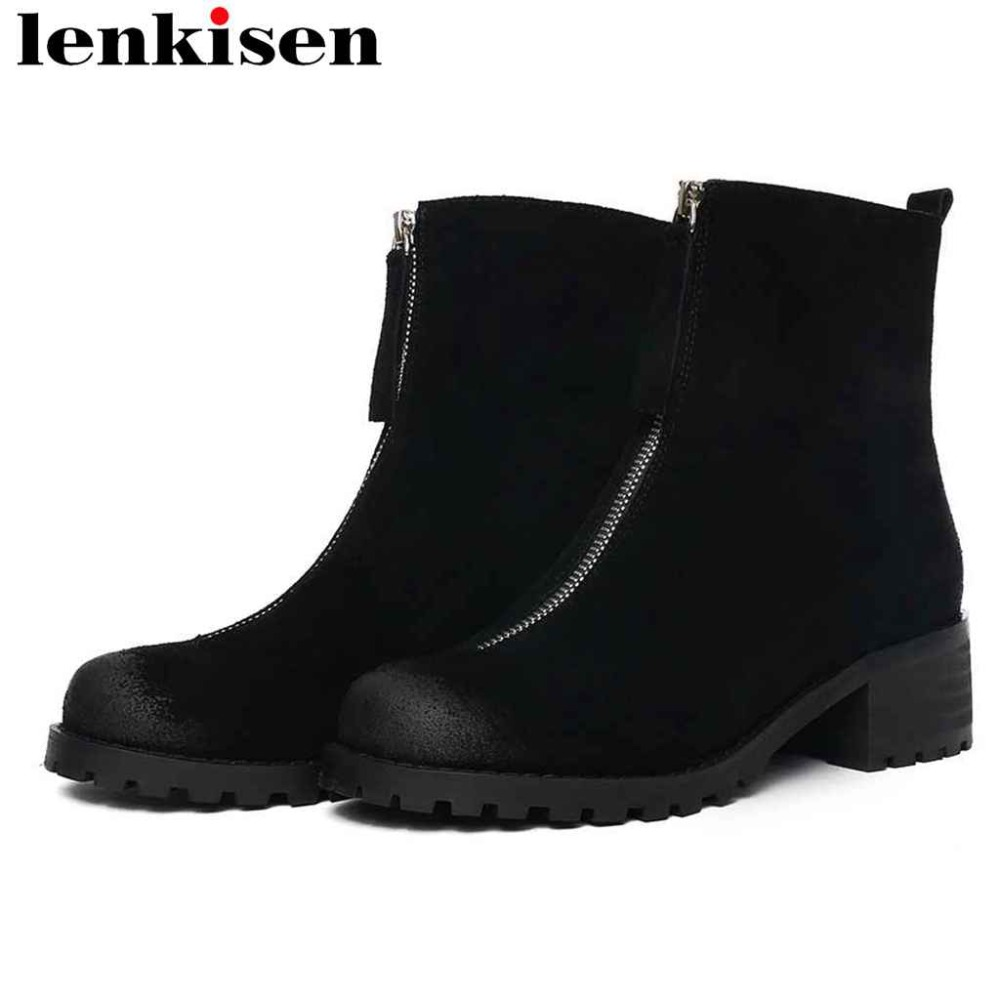 Lenkisen 2018 winter warmful black color med chunky heels cow suede round toe zipper beauty girls comfortable ankle boots L02Lenkisen 2018 winter warmful black color med chunky heels cow suede round toe zipper beauty girls comfortable ankle boots L02
