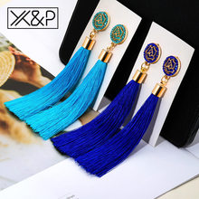 X&P Fashion Long Cotton Tassel Crystal Drop Earrings for Women Girl Bohemian Ethnic Black White Blue Red Pink Earring jewelry(China)