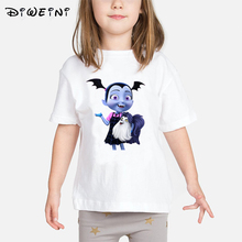 купить Cute Kids Girl Vampirina Summer print Short Sleeve T-shirt Top Costume Toddler Girls Short Sleeve T Shirts Children O-Neck shirt дешево