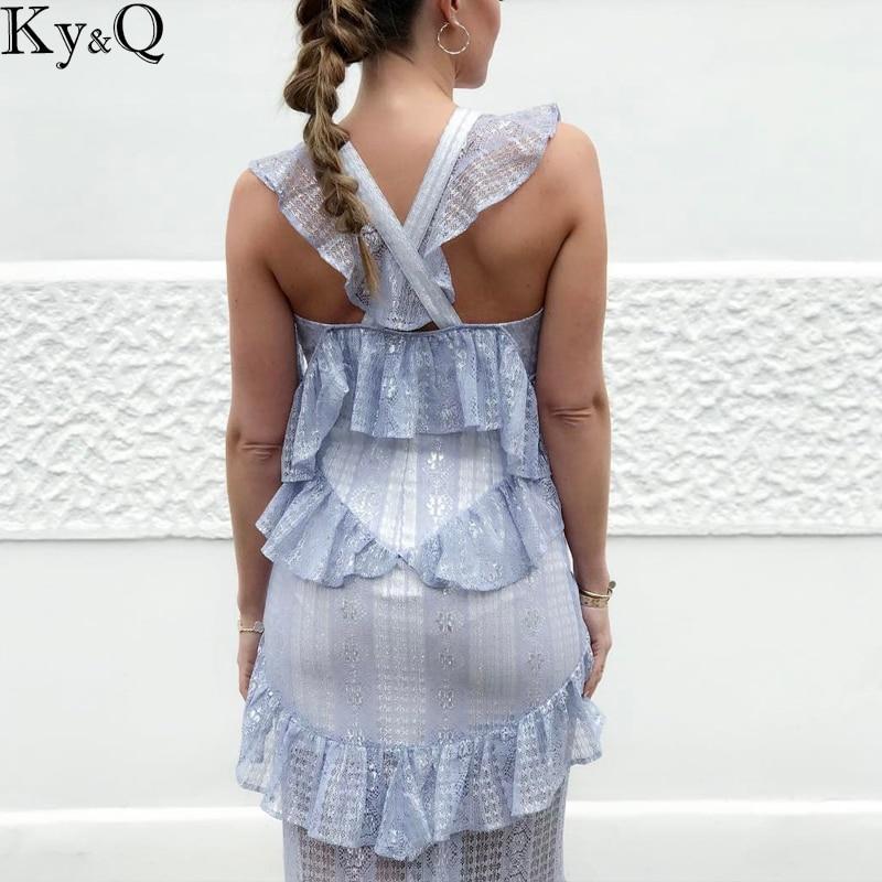 Boho Beach Sans Femelle En Robe Élégant Party Longue Manches Col Conçu Midi V Mash Femmes Patchwork Robes Sexy Bleu rP61Zr