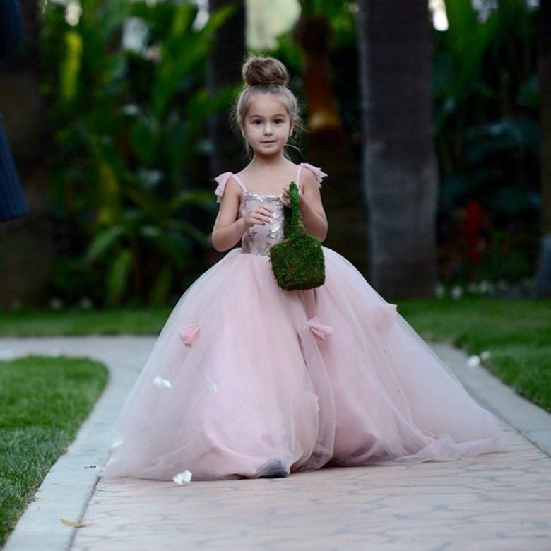 2016 lovely tulle flower girl dress pink sequined floor length 2016 lovely tulle flower girl dress pink sequined floor length layered flower girl ball gown with flowers for wedding in flower girl dresses from weddings mightylinksfo Image collections