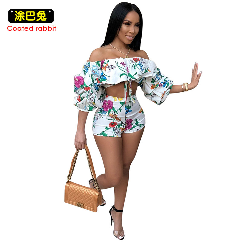 CR 2018 Summer Floral Print 2 Two Piece Set Women Sexy Slash neck Crop Tops And Short Sets Fashion Casual Outfits