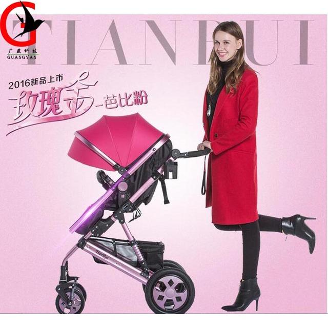 Luxuoso Do Bebê Carrinho de Criança Dobrável Carrinho de Bebê de Alta Paisagem Se Sentar e Deitar para Recém-nascidos Infantil Quatro Rodas