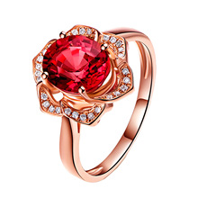 Wish Hot Multicolored Natural Red Tourmaline Approximate Weight of Diamond Cluster Rings Plated Rose 18K Golden Flower-Shaped Ri