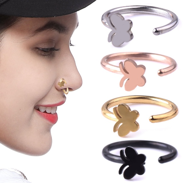 Us 0 41 1pcs 1 0 8mm Cartilage Butterfly Nose Piercing Surgical Steel Bendable Hoop Nose And Studs Nose Ring With Piercing In Body Jewelry From
