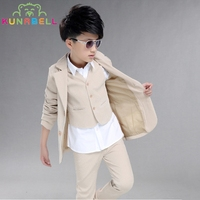 Children Formal Suit Jackets Vest Pants 3pcs Baby Boy Birthday Dress Party Weddings Gentleman Kids Clothes