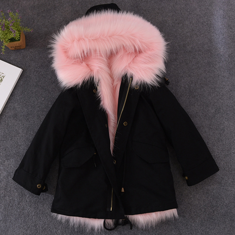 Boys Girls Fur Coat Parkas Winter Big Fur Collar Kids Jackets Coats Removable Fox Fur Liner Children Thick Warm Hooded Outerwear midea мк 17s18е нерж сталь