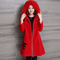 Lambswool Fur Coat Real Sheep Poncho Fur Coats Women Parka Red Black Navy Pink Hooded Fox