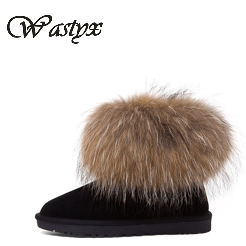 Wastyx fashion cow split leather big fox fur girls winter short ankle snow boots for women winter flats shoes black high quality