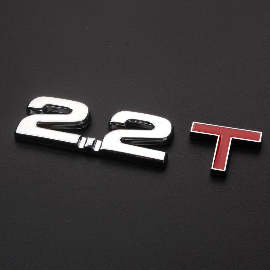 BBQ@FUKA Auto 3D 2.2T Turbo Engine Rear Trunk Emblem Badge Decal Sticker Metal Car 2.2 T emblem sticker