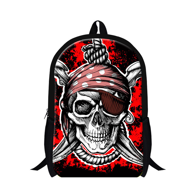 8a35d32545c7 Pirates of the Caribbean Jack Sparrow 3D Print Mens Shoulder Backpack Skull  Heads Student Children School