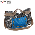 MANXISI Brand Women Handbag Boho Bag Crossbody Bags With Rivets and Splice Design Print Leather and Canvas Handbag