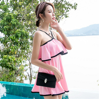 One piece off shoulder sleeveless dress swimwear solid pink and black sweet girl padded skirted bathing suit VERZY 2018 new M XL