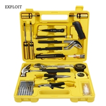 Exploit 17pcs/Set Multifunctional Household Hardware Tool Set with Hammer Pliers Screwdriver Saw Wrench Woodworking Tool Kit
