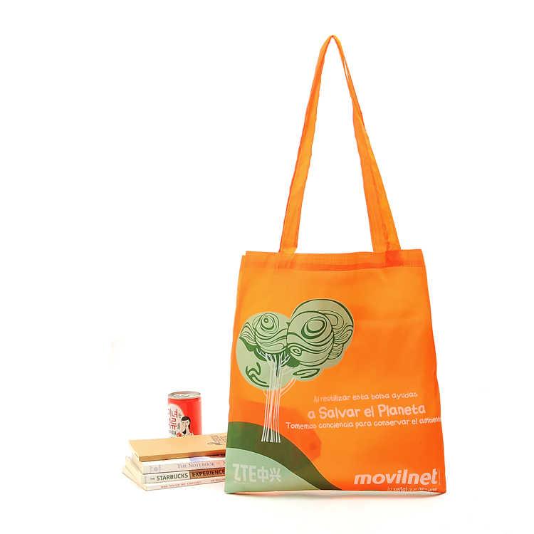 fcf9b9bfad Custom Reusable Bags Nylon Orange Grocery Totes Promotional Shopping Bags