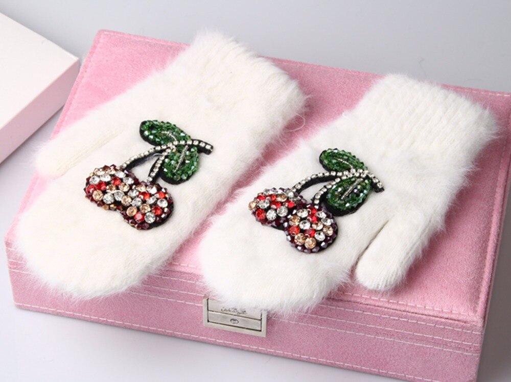 2017 Winter Handschuhe Luxus Kristall Kirsche dekoration kaninchenfell handschuhe Für Frau winter handschuhe mädchen Handschuhe