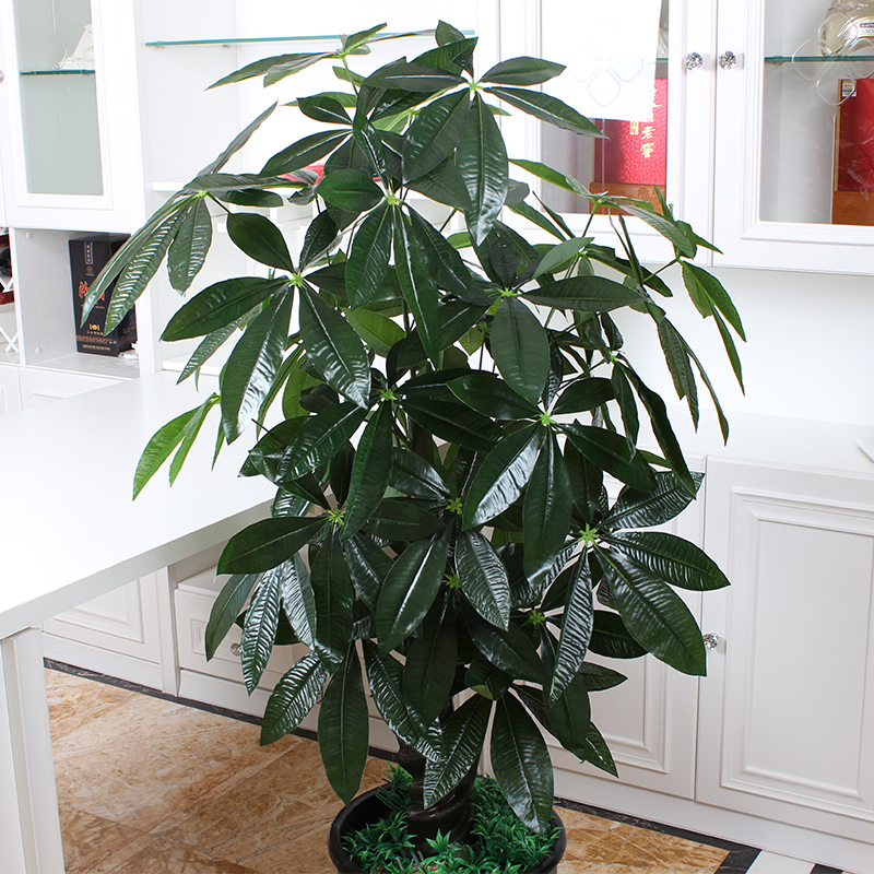 ... 42 Leaves Of Plants Fake Tree Pachira Simulation Plant Tree Potted  Floral Decoration Large Living Room ...