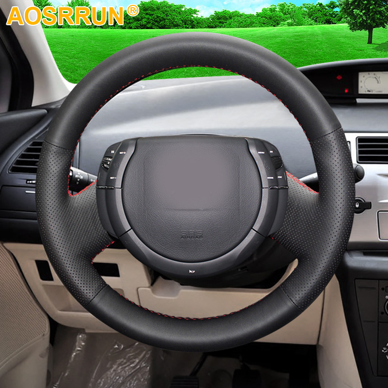 AOSRRUN Hand-stitched Black Leather Car Steering Wheel Cover For Citroen Triumph Old C4 C-quatre Car-Styling