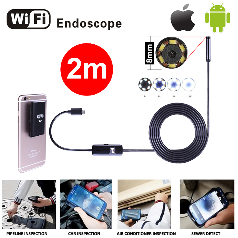 8mm Lens 2M Iphone Wifi Endoscope Camera HD Snake Tube USB Pipe Inspection Borescope Android Camera 720P Android IOS Endoskop 8mm 1m 2m 3 5m wifi ios endoscope camera borescope ip67 waterproof inspection for iphone endoscope android pc hd ip camera