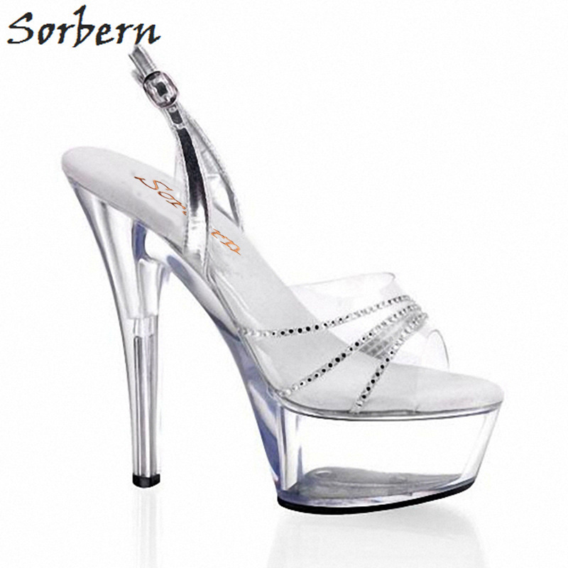 Sorbern Transparent Color Sandals Shoes With Rihenstones For Women Summer 2019 Ankle Strap Womens Sandals Large Sizes LadiesSorbern Transparent Color Sandals Shoes With Rihenstones For Women Summer 2019 Ankle Strap Womens Sandals Large Sizes Ladies