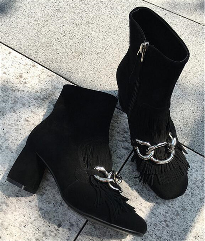 Autumn Winter Women Fashion Chains Decor Ankle Boots Square High Heel Short Booties Suede Fringed Botines Mujer Botas Militares
