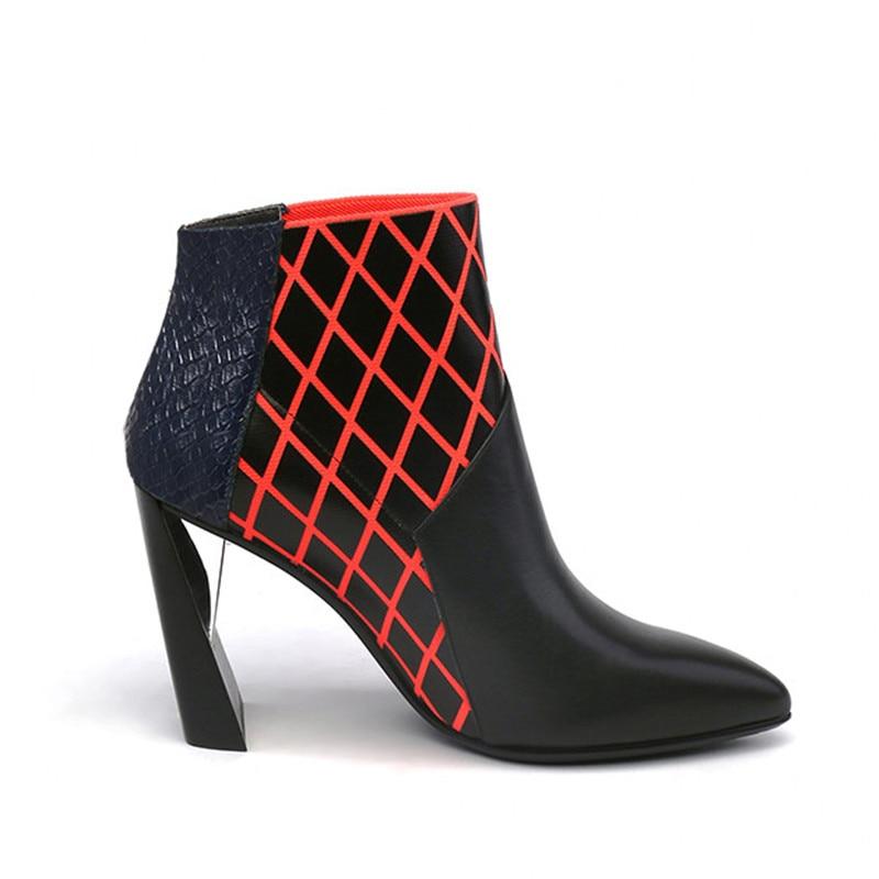 9 Bota Gun Cm Noir metal Cuir Mode Véritable Pics Femmes Zapatos Jadyrose Chelsea Bottes as Pointu Cheville Mujer Talons Plaid Bout Hauts En 6mYfgy7Ibv