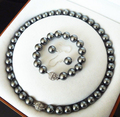 AAA+ 10mm Black Shell Pearl 18KWGP Crystal Clasp Earrings Bracelet Necklace Set  shipping free