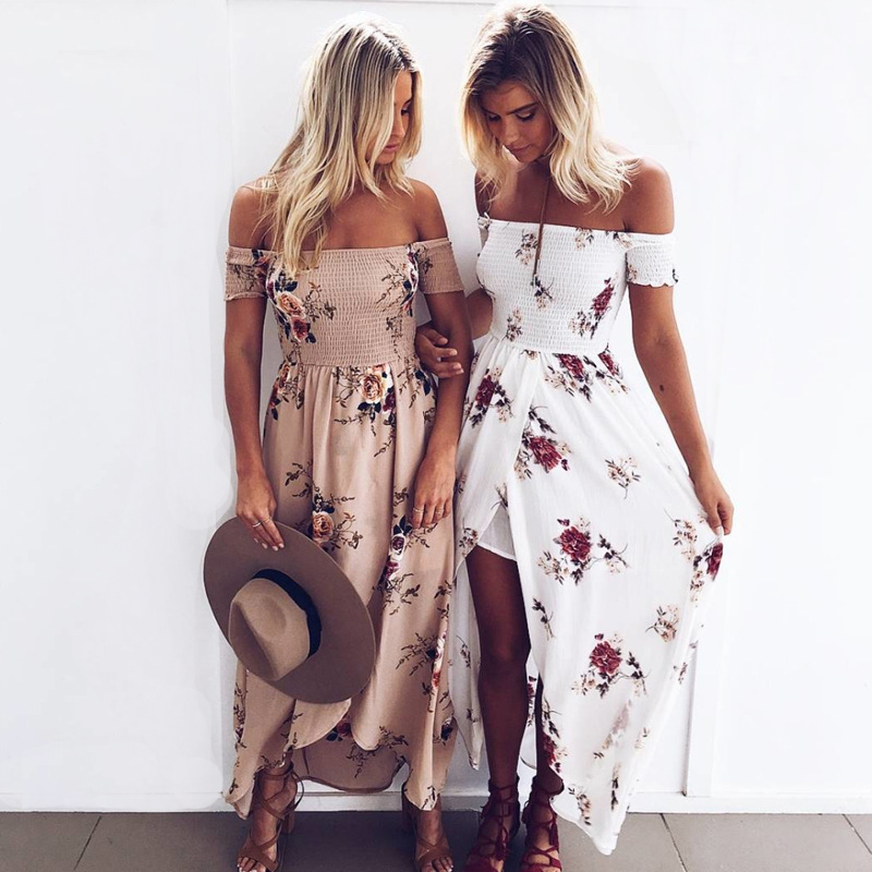 UTMEON Boho style Floral print Vintage chiffon white Off shoulder beach long dresses maxi dress vestidos de festa