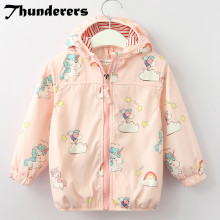 Girls Unicorn Jacket Long Sleeve Cartoon Fashion Outerwear Pink Thin Coat for Autumn Spring 2018 New Brand Fashion Style(China)