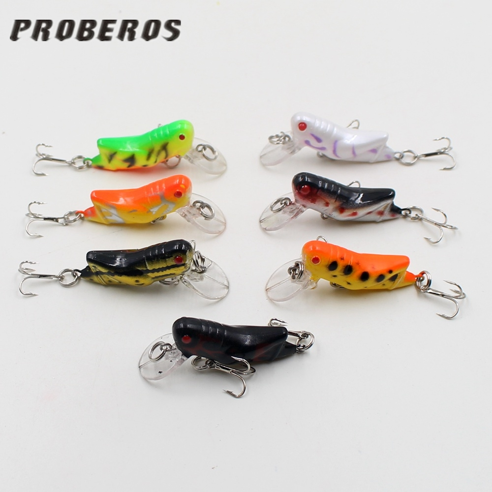 Cheap 1PCS Artificial Small colorful grasshopper Hard Crank two Sharp hooks fish lure Enough to attract