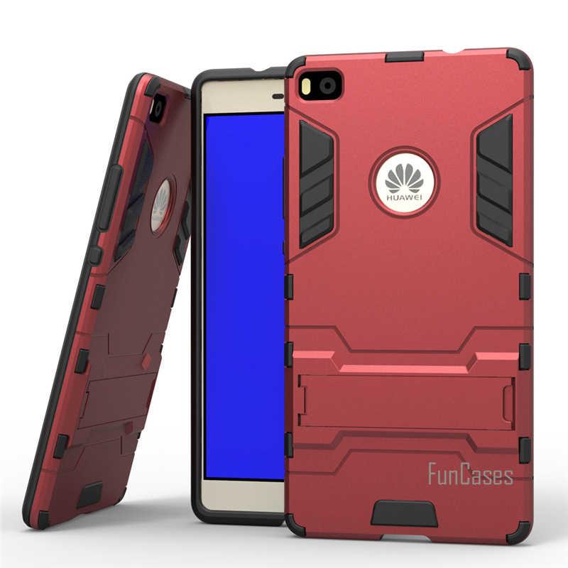 Per Huawei Ascend P8 Caso 5.2 pollici Dual Layer Ibrida Robusta Armatura Dura del PC + TPU 2 In 1 Antiurto con Kickstand Copertura