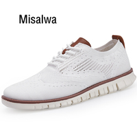 Misalwa White Red Mens Sneakers New Brogue Men's Shoes Summer Male Dress Footwear Lightweight Casual Knitted Loafers 40 46 Size