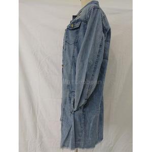 Image 4 - נשים Ripped חור ג ינס מעיל 2018 החבר רוח ז אן מעיל רופף ארוך שרוול מעילים בתוספת גודל 3XL מפציץ מעיל האביב סתיו