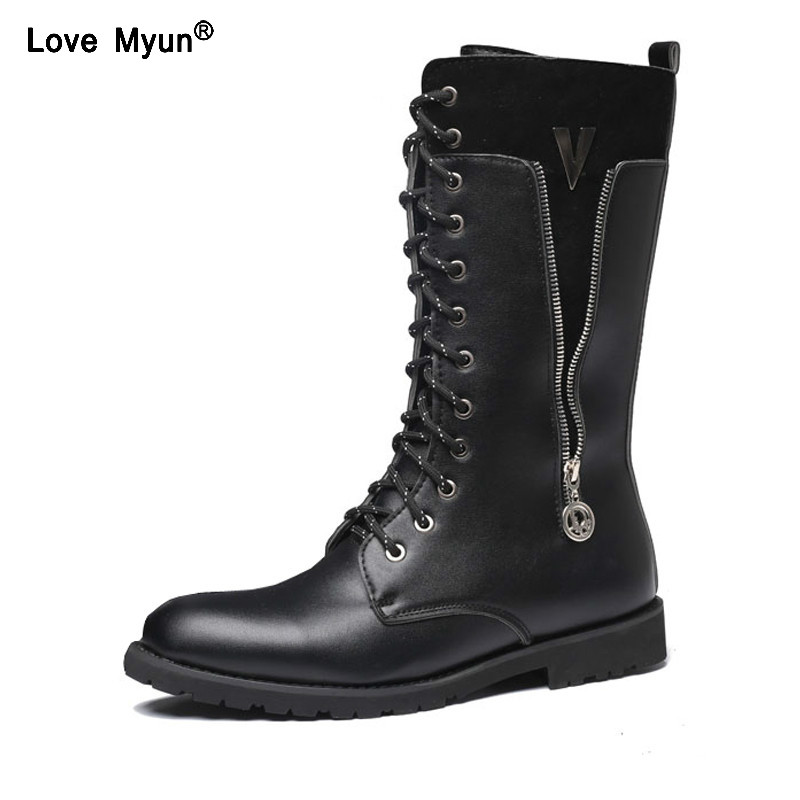 Motorcycle Boots Fashion Elevator Male Martin Boots High-leg Knee-high Fashion Punk Rock Outdoor Motorcycle Boats Riding Men Denim Shoes Always Buy Good Shoes