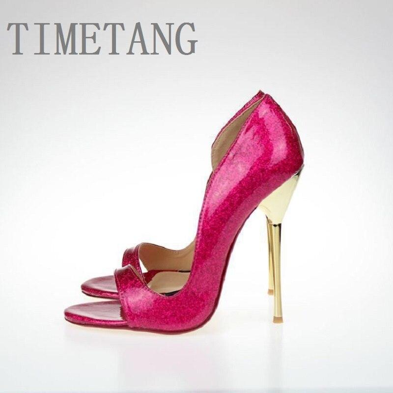 2018 nouveau arrivé femmes Sexy sandales 13 CM ultrafine à talons hauts miroir Grett bout ouvert côté fête club nuit sandales plus size9-19