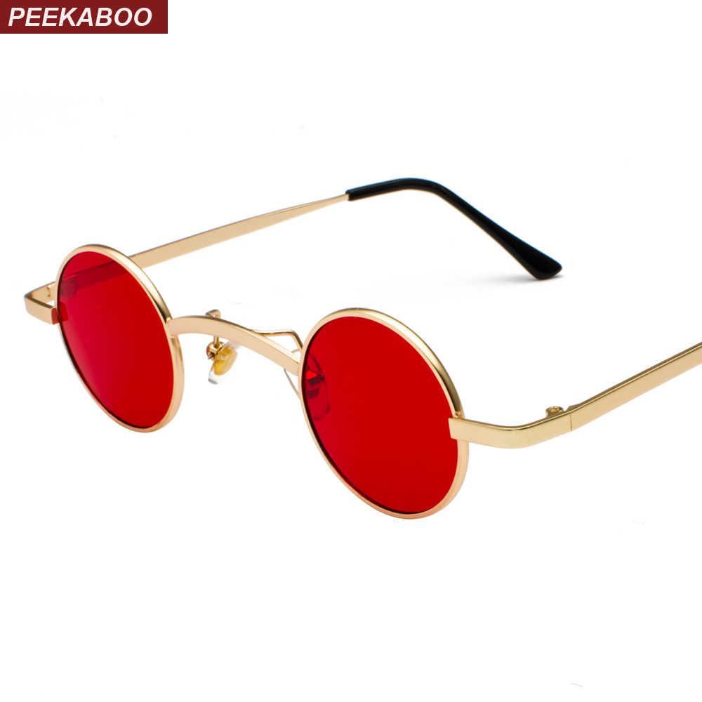 3a60de5875 ... Peekaboo retro mini sunglasses round men metal frame 2018 gold black red  small round framed sun ...
